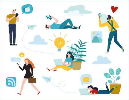 communication via online illustration vector. diverse young people communicate through internet social networks. chat, messages, search friends, concept. flat cartoon design for banner mobile and web