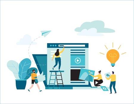 オンラインニュースベクトルのイラスト。働く小さな人々は、装飾されたラップトップ。ソーシャルネットワーク。仮想通信。建設用ウェブサイト。概念。背景バナーのためのフラットな漫画のデザイン