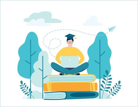 Online English school vector illustration. Language courses concept. Male student graduate sitting on books with laptop surrounded by greenery. Flat cartoon character design for web banner background.