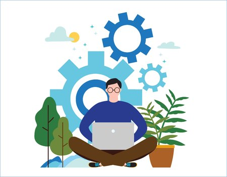 Man online assistant at work vector illustration. Promotion in the network. Manager at a remote job concept. Young freelance using laptop. Flat cartoon character design for web banner background. Ilustração