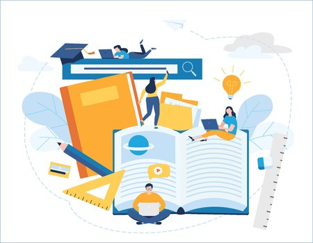 online training courses vector illustration. distance education banner. internet studying book tutorials e-learning concept. young student using laptop. flat cartoon character design for web mobile