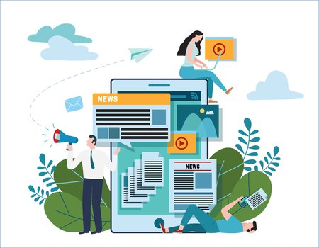 news update online illustration vector.newspaper website concept.announcements internet social network.flat cartoon design for banner mobile and webannouncer holding megaphone