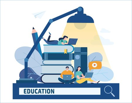 Education online vector illustration. Internet studying book tutorials concept. Training courses distance banner design. Young student using laptop with e-learning, flat cartoon character for web mobile.