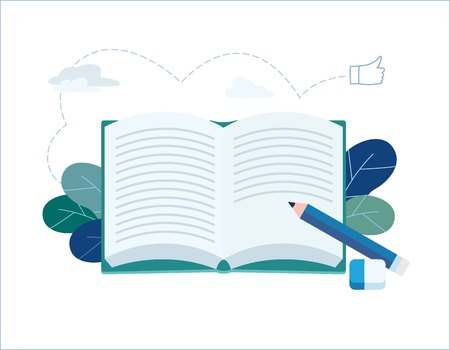 Year End Summary review vector illustration. notebook with pencil writing note banner. journalism and interviews concept. flat cartoon character design for web mobile background