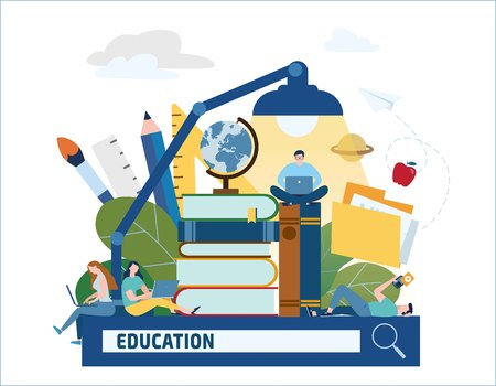 education searching vector illustration. e-book e-learning e-library banner training young people gain knowledge from books and Internet concept. online students flat cartoon character design