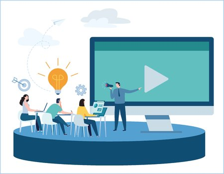 Professional online training.education webinar concept.business courses video tutorial banner.presentation expertise vector illustration.skill development.flat cartoon design for mobile and web