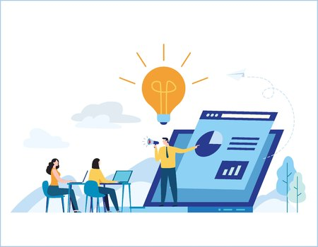 Education online training courses.distance tutorials e-learning concept.Internet studying banner.presentation expertise vector illustration.skill development.flat cartoon design for mobile and web