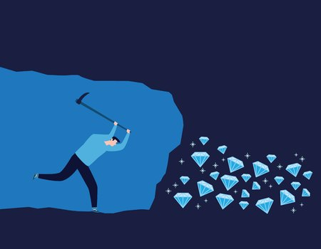 Person worker digging and mining for diamond in an underground tunnel.Vector illustration banner.success, achievement, and discovery concept.flat cartoon character design for web header and mobile
