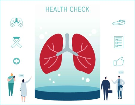 Breathing lungs checkup vector illustration infographic icons.conceptual respiration banner.lung anatomy flat cartoon design for web mobile background.doctor diagnosis and talking patient.