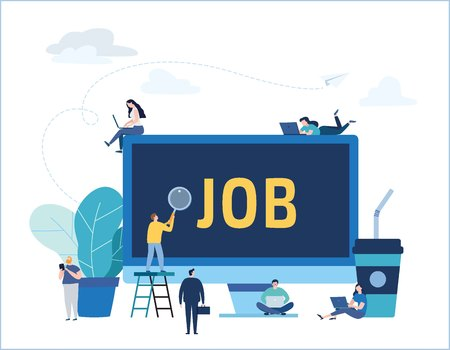 Job search, recruitment, hiring,employment, freelance, jobs, career concept.Flat vector illustration design for mobile and web graphics Ilustração