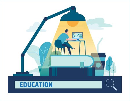 Education online training courses distance vector illustration.Internet studying, e-book, tutorials, e-learning,design for banner mobile and web graphics Ilustração