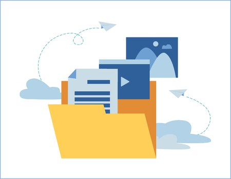 Cloud storage banner concept with yellow document storage folder. Ilustração