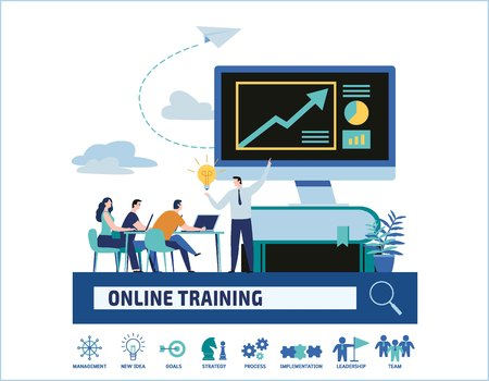 Online training courses vector illustration