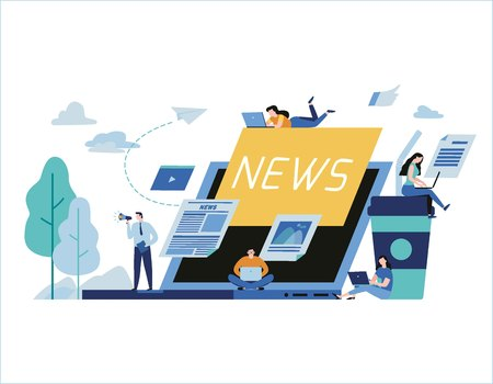 Online news update vector illustration. newspaper information website banner. People announcements business concept. flat cartoon character design for web page mobile