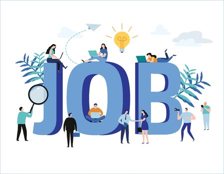 Job search, recruitment, hiring, jobs, career vector illustration web graphics design Ilustração