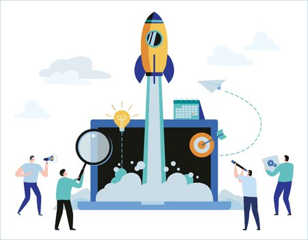 Business project startup process concept. idea launching. vector illustration banner web graphics design Ilustração