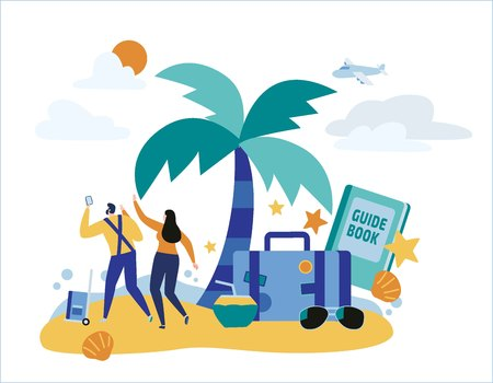Travel vacation  vector illustration people travelling, summer holiday concept passengers with baggage. banner web graphics design