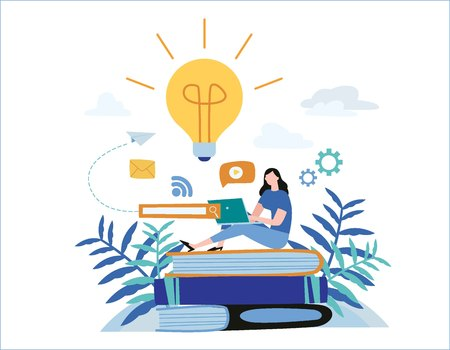 knowledge online. illustration vector. distance education concept. video tutorial, training courses. girl laying on books and textbooks while surfing internet with a laptop for ideas. Ilustração