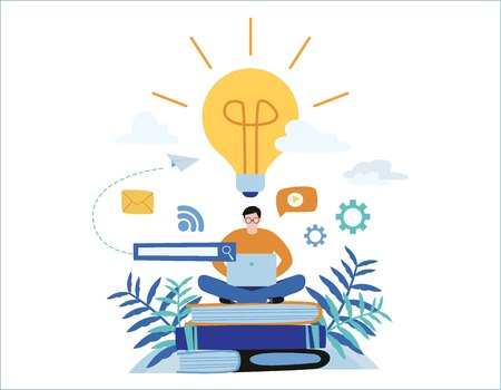 knowledge online. illustration vector. distance education concept. video tutorial, training courses. man laying on books and textbooks while surfing internet with a laptop for ideas.  Ilustração