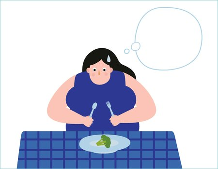 Overweight young woman with decisions eating healthy food.Obese girl thinking illustration vector cartoon character design.obesity medical healthcare concept.flat icon isolated on white background.