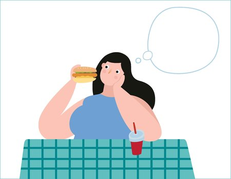 Overweight young woman with decisions unhealthy food.Obese girl thinking illustration vector cartoon character design.medical health obesity concept.flat icon isolated on white background.