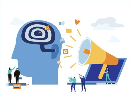 Business people communicates through a megaphone