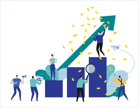 path to a target's growth vector illustration banner.achievement business concept.flat cartoon character design for web.People standing at the top graph.