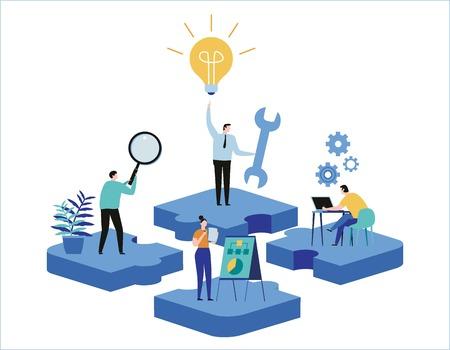 Encontrar nuevas ideas. resolución de problemas. Banner de ilustración vectorial Búsqueda de trabajo en equipo para soluciones Diseño de dibujos animados plano de trabajo en equipo de personas en miniatura para web móvil Ilustración de vector