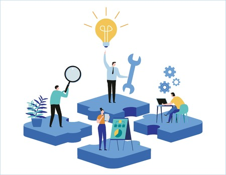 Finding new ideas. problem solving. Vector illustration banner.Teamwork search for solutionsMiniature people team workingflat cartoon design for web mobile