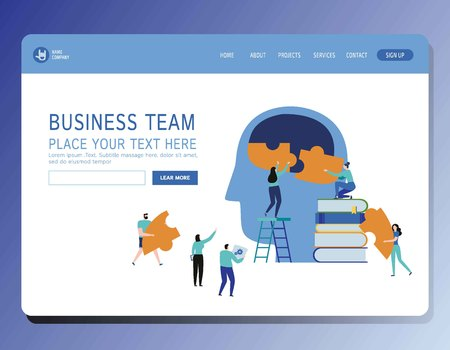 Teamwork vector illustration modern banner.Brainstorming and Creative process concept.People connecting jigsaw ideaMiniature businessman and womanModern flat cartoon character graphic design
