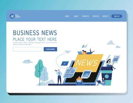 Online news update vector illustration modern banner.Newspaper information website concept.Miniature people announcements businessModern flat cartoon character graphic designfor web page header 일러스트