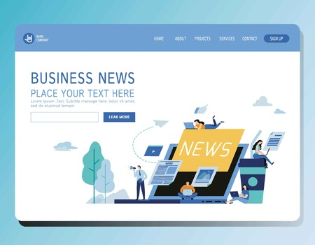 Online news update vector illustration modern banner.Newspaper information website concept.Miniature people announcements businessModern flat cartoon character graphic designfor web page header 向量圖像