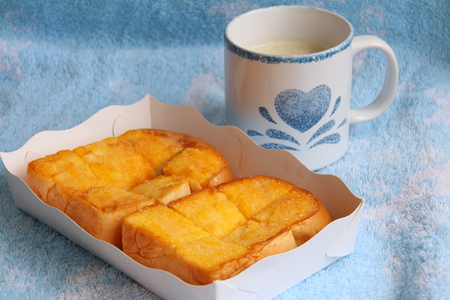 buttered: Buttered bread and Soybean milk Stock Photo