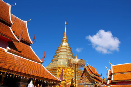 composed: Buddhist temples in Chiang Mai Thailand Stock Photo