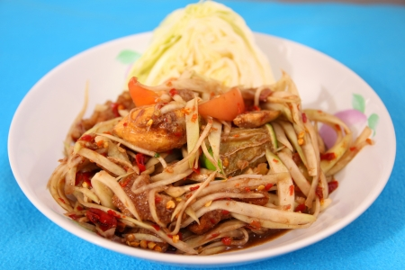 tam: Som Tam is spicy green papaya salad Thai food