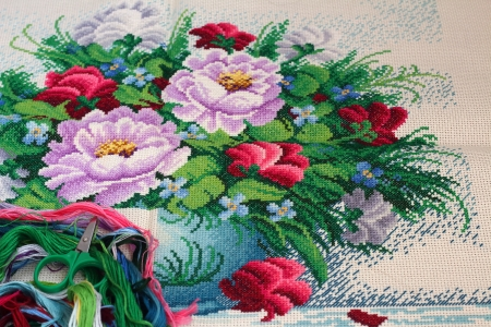 Cross Stitch floral patterns Stock fotó