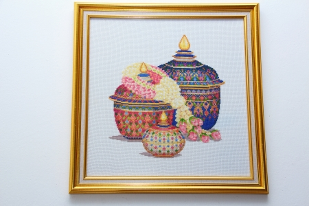 Picture frame Cross Stitch Thailand Art hanging on the wall
