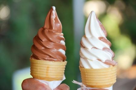 chocolate ice cream: Helado Shore, chocolate y crema Foto de archivo