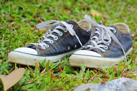 Blue sneakers on the grass photo