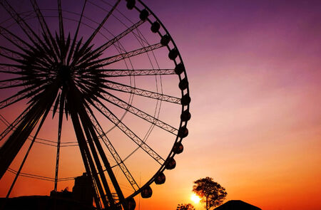 big wheel: Ferris wheel Silhouette in the natural Thailand Stock Photo