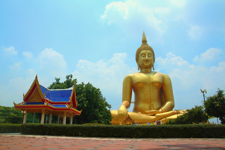 ang thong:  Buddha statue the largest in the world at Wat Muang, Ang Thong in Thailand Stock Photo
