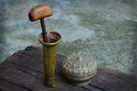 betel box mortar for pounding betel and areca, formerly used by old women in Thailand asia photo