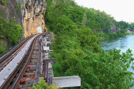 allied: Kanchanaburi, Thailand - May 06, 2014  Death Railway in World War II at River Kwai, was built by the Empire of Japan in 1943 and Allied prisoners of war