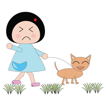 morose: Illustration moody girl in blue dress and dog smile