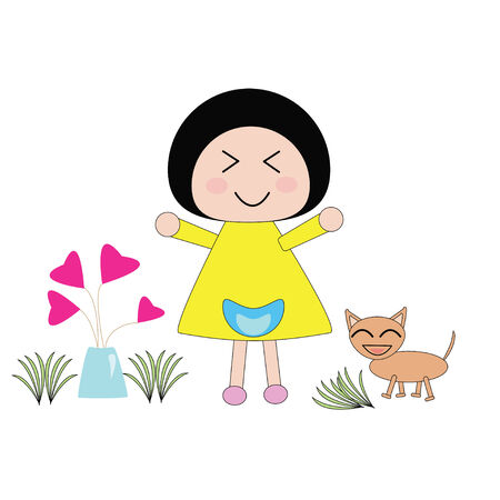 Illustration little girl in yellow dress and dog smile in love plant garden