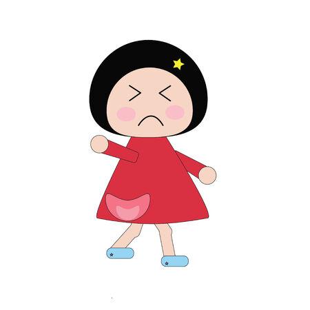 morose: Illustration moody girl in red dress on white background Illustration