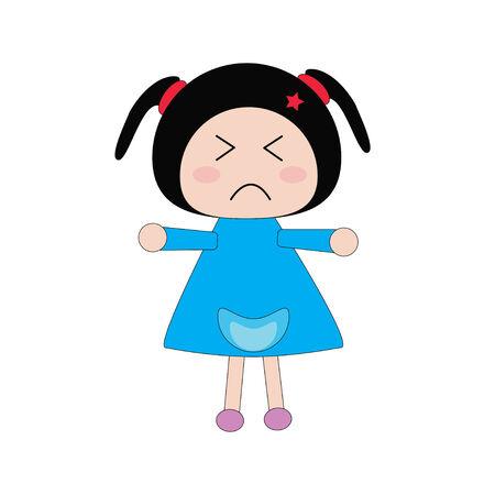 morose: Illustration moody girl in blue dress on white background