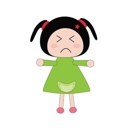 morose: Illustration moody girl in green dress and white background