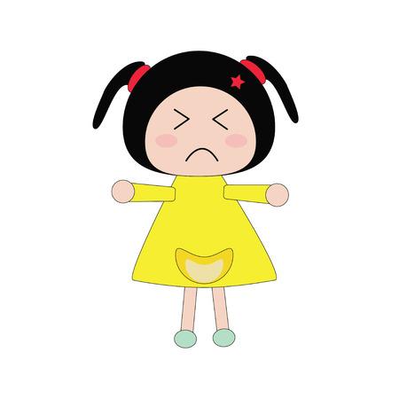 morose: Illustration moody girl in yellow dress on white background