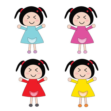 Illustration Little girl in color dress and white background Illustration